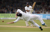 Mahela Jayawardena of Sri Lanka hits past Ian Bell of England during day three of 1st Investec Test match between England and Sri Lanka at Lord's...