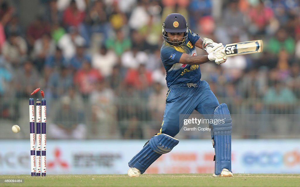 Mahela Jayawardena of Sri Lanka is bowled by Chris Jordan of England during the 4th One Day International match between Sri Lanka and England at R. Premadasa Stadium on December 7, 2014 in Colombo, Sri Lanka.