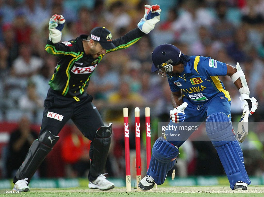 Mahela Jayawardena of Sri Lanka is bowled by Xavier Doherty during game one of the Twenty20 international match between Australia and Sri Lanka at ANZ Stadium on January 26, 2013 in Sydney, Australia.