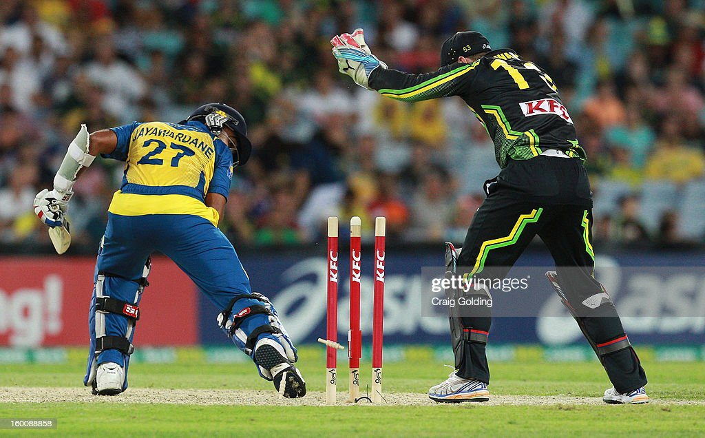 Mahela Jayawardena of Sri Lanka is bowled by Xavier Doherty of Australia during game one of the Twenty20 international match between Australia and Sri Lanka at ANZ Stadium on January 26, 2013 in Sydney, Australia.