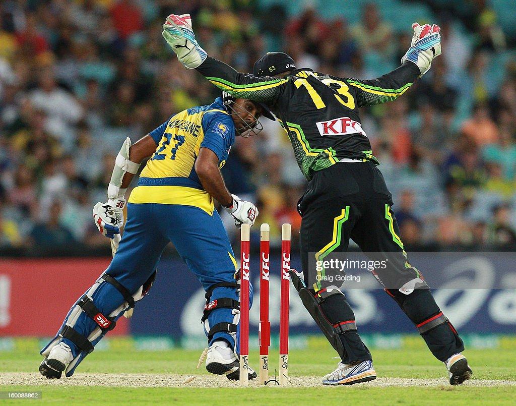 Mahela Jayawardena of Sri Lanka is bowled by Xavier Doherty of Australia during game one of the Twenty20 international match between Australia and Sri Lanka at ANZ Stadium on January 26, 2013 in Sydney, Australia.