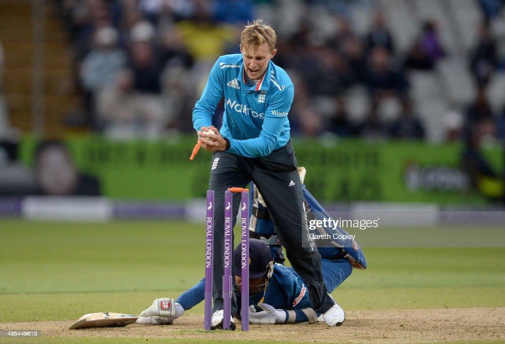 Mahela Jayawardena of Sri Lanka makes his ground as Joe Root of England breaks the stumps during the Royal London One Day International match between...