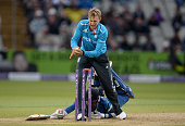 Mahela Jayawardena of Sri Lanka makes his ground as Joe Root of England breaks the stumps during the Royal London One Day International match between...