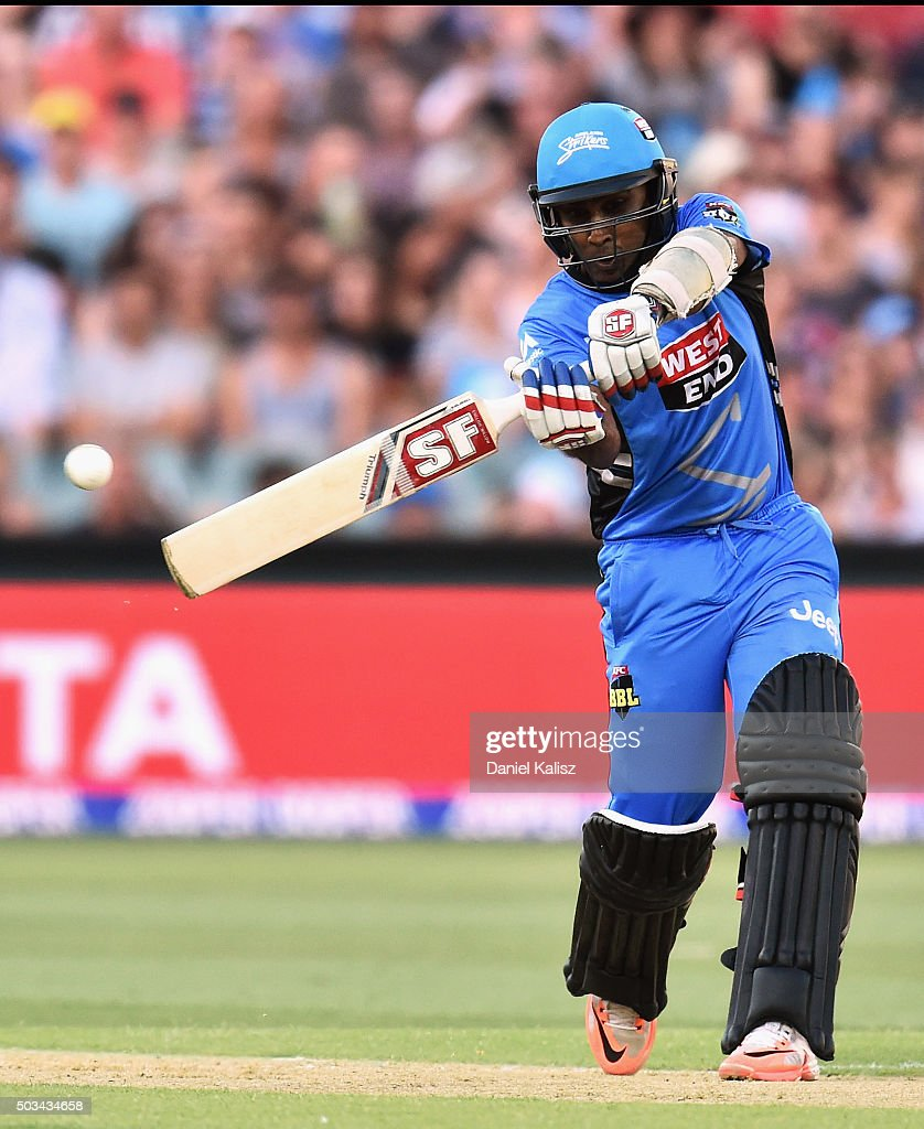 Mahela Jayawardena of the Strikers bats during the Big Bash League match between the Adelaide Strikers and Perth Scorchers at Adelaide Oval on...
