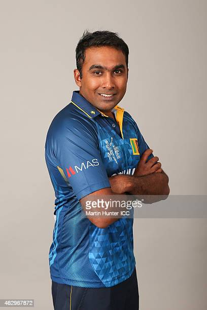 Mahela Jayawardena poses during the Sri Lanka 2015 ICC Cricket World Cup Headshots Session at the Rydges Latimer on February 8 2015 in Christchurch...