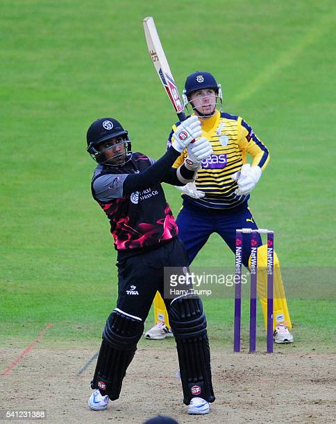 Mahela Jayawardene of Somerset bats during the Natwest T20 Blast match between Somerset and Hampshire at The Cooper Associates County Ground on June...