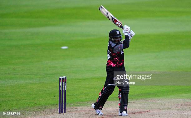 Mahela Jayawardene of Somerset bats during the Natwest T20 Blast match between Somerset and Kent at The Cooper Associates County Ground on July 7...