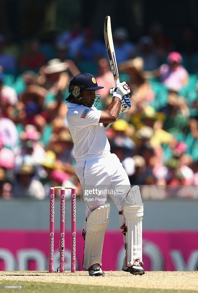 Mahela Jayawardene of Sri Lanka bats during day three of the Third Test match between Australia and Sri Lanka at Sydney Cricket Ground on January 5, 2013 in Sydney, Australia.