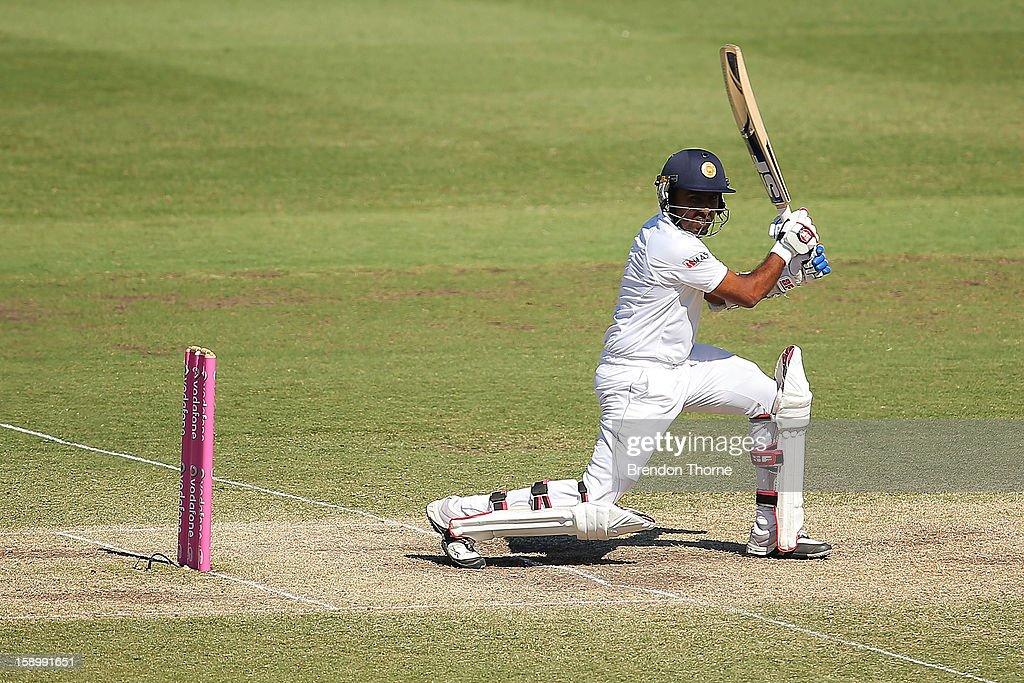 Mahela Jayawardene of Sri Lanka bats during day three of the Third Test match between Australia and Sri Lanka at the Sydney Cricket Ground on January 5, 2013 in Sydney, Australia.