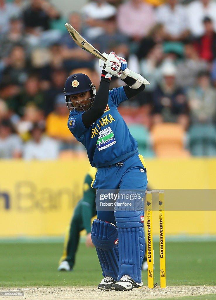 Mahela Jayawardene of Sri Lanka bats during game five of the Commonwealth Bank One Day International Series between Australia and Sri Lanka at Blundstone Arena on January 23, 2013 in Hobart, Australia.