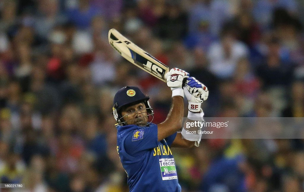 Mahela Jayawardene of Sri Lanka bats during game two of the Twenty20 International series between Australia and Sri Lanka at the Melbourne Cricket Ground on January 28, 2013 in Melbourne, Australia.