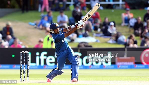 Mahela Jayawardene of Sri Lanka bats during the 2015 ICC Cricket World Cup match between Sri Lanka and Afghanistan at University Oval on February 22...