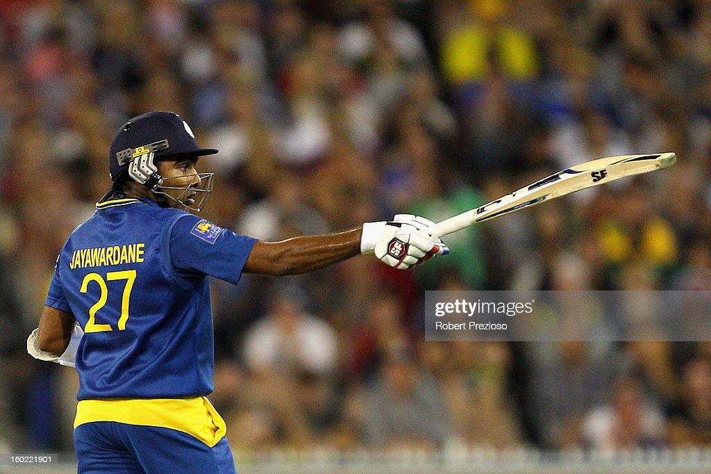Mahela Jayawardene of Sri Lanka celebrates his half century during game two of the Twenty20 International series between Australia and Sri Lanka at Melbourne Cricket Ground on January 28, 2013 in Melbourne, Australia.