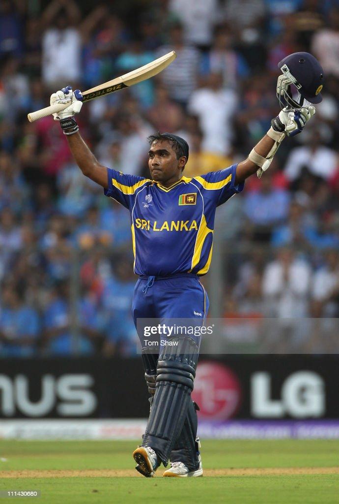 Mahela Jayawardene of Sri Lanka celebrates reaching his century during the 2011 ICC World Cup Final between India and Sri Lanka at the Wankhede...