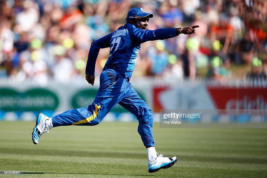 Mahela Jayawardene of Sri Lanka celebrates the run out of Nathan McCullum of New Zealand during the One Day International match between New Zealand...
