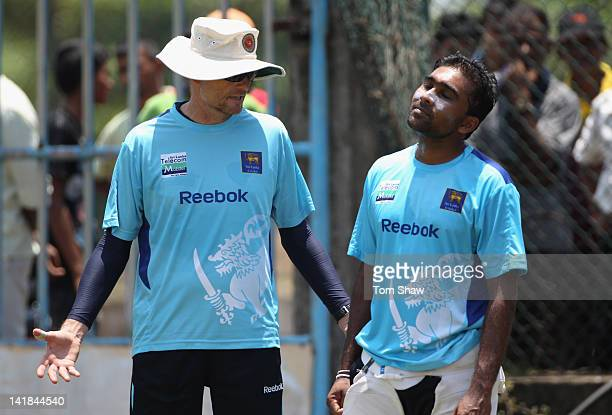 Mahela Jayawardene of Sri Lanka chats to coach Graham Ford during the Sri Lankan nets session at the Galle International Stadium on March 25 2012 in...