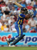 Mahela Jayawardene of Sri Lanka gets some runs during the second Natwest One Day International between England and Sri Lanka at Headingley on July 1...