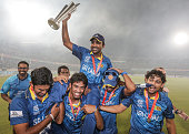 Mahela Jayawardene of Sri Lanka is carried on a the victory lap following their victory in the India v Sri Lanka ICC World Twenty20 Bangladesh 2014...