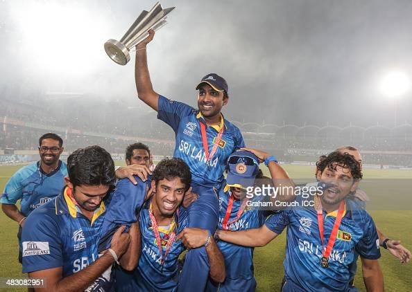 Mahela Jayawardene of Sri Lanka is carried on a the victory lap following their victory in the India v Sri Lanka ICC World Twenty20 Bangladesh 2014...