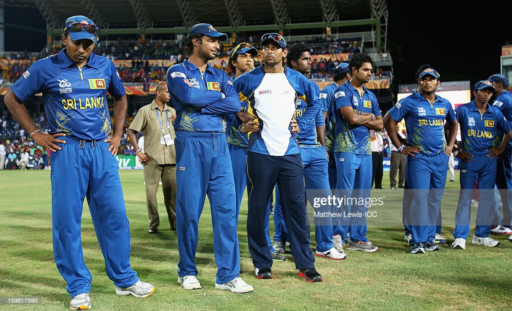 <a gi-track='captionPersonalityLinkClicked' href=/galleries/search?phrase=Mahela+Jayawardene&family=editorial&specificpeople=213707 ng-click='$event.stopPropagation()'>Mahela Jayawardene</a> of Sri Lanka looks on with his team after they lost to the West Indies in the ICC World Twenty20 2012 Final between Sri Lanka and West Indies at R. Premadasa Stadium on October 7, 2012 in Colombo, Sri Lanka.