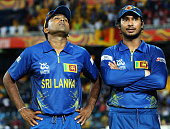 Mahela Jayawardene of Sri Lanka looks on with Kumar Sangakkara after his team lost the ICC World Twenty20 2012 Final between Sri Lanka and West...