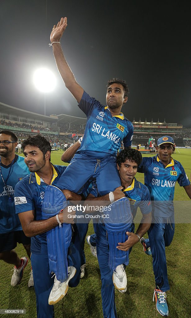 Mahela Jayawardene of Sri Lanka on a the victory lap following their victory in the India v Sri Lanka ICC World Twenty20 Bangladesh 2014 Final at...