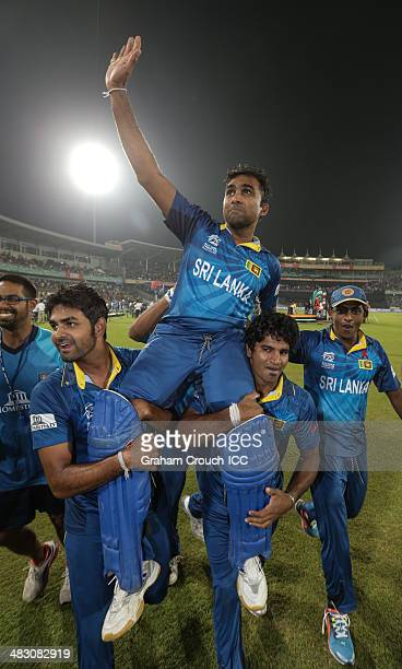 Mahela Jayawardene of Sri Lanka on a the victory lap following their victory in the India v Sri Lanka ICC World Twenty20 Bangladesh 2014 Final at...