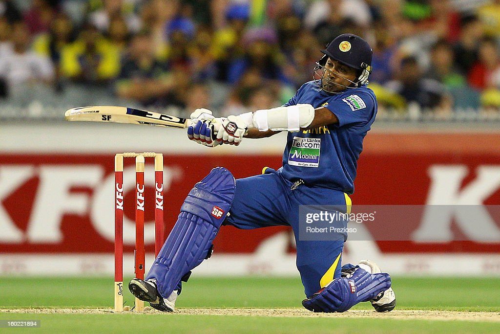 Mahela Jayawardene of Sri Lanka plays a shot during game two of the Twenty20 International series between Australia and Sri Lanka at Melbourne Cricket Ground on January 28, 2013 in Melbourne, Australia.