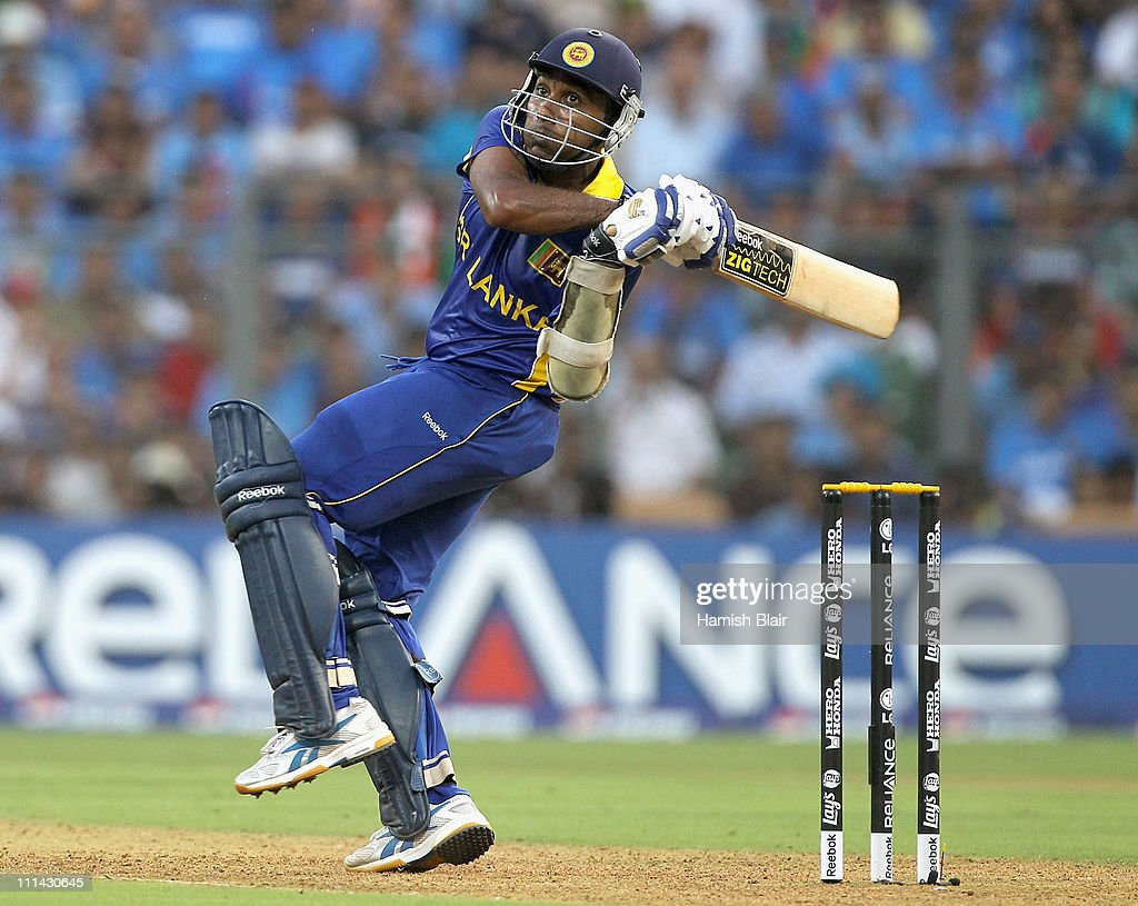 <a gi-track='captionPersonalityLinkClicked' href=/galleries/search?phrase=Mahela+Jayawardene&family=editorial&specificpeople=213707 ng-click='$event.stopPropagation()'>Mahela Jayawardene</a> of Sri Lanka pulls during the 2011 ICC World Cup Final between India and Sri Lanka at Wankhede Stadium on April 2, 2011 in Mumbai, India.