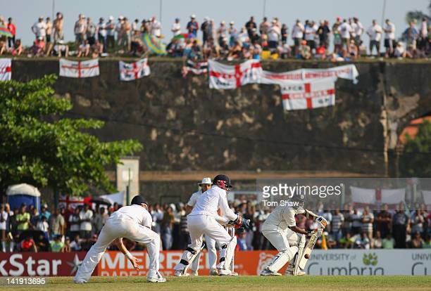 Mahela Jayawardene of Sri Lanka runs the ball down to third man during day one of the 1st Test Match between Sri Lanka and England at the Galle...