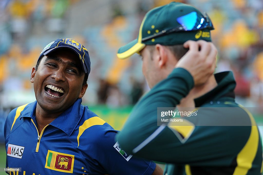 <a gi-track='captionPersonalityLinkClicked' href=/galleries/search?phrase=Mahela+Jayawardene&family=editorial&specificpeople=213707 ng-click='$event.stopPropagation()'>Mahela Jayawardene</a> of Sri Lanka speaks with Michael Clarke of Australia after game three of the Commonwealth Bank One Day International Series between Australia and Sri Lanka at The Gabba on January 18, 2013 in Brisbane, Australia.