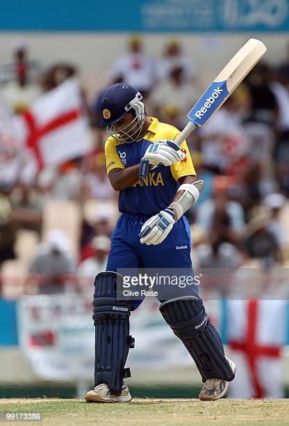 Mahela Jayawardene of Sri Lanka swings his bat in frustration after being dismissed during the semi final of the ICC World Twenty20 between England...