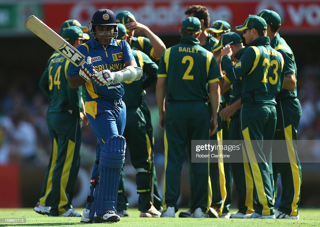 Mahela Jayawardene of Sri Lanka walks from the ground after he was dismissed by Clint McKay of Australia during game three of the Commonwealth Bank One Day International Series between Australia and Sri Lanka at The Gabba on January 18, 2013 in Brisbane, Australia.