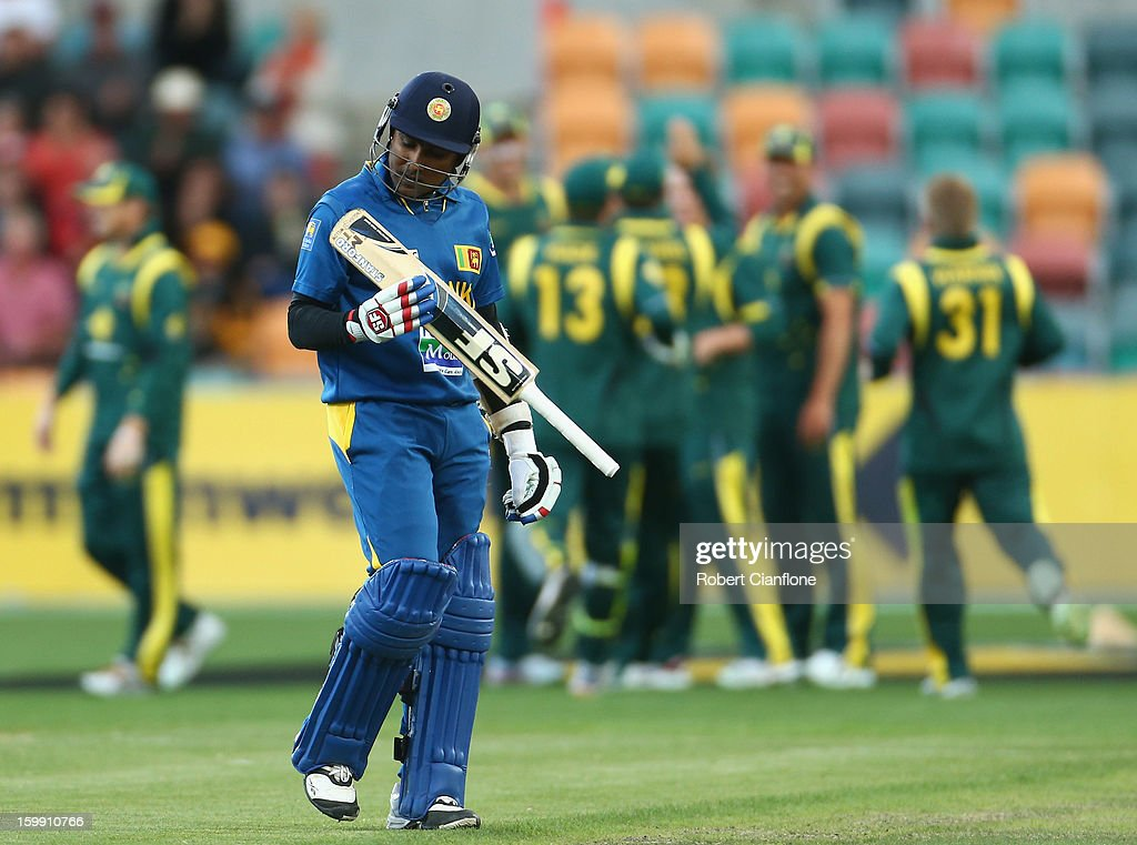 Mahela Jayawardene of Sri Lanka walks from the ground after he was caught out during game five of the Commonwealth Bank One Day International Series between Australia and Sri Lanka at Blundstone Arena on January 23, 2013 in Hobart, Australia.