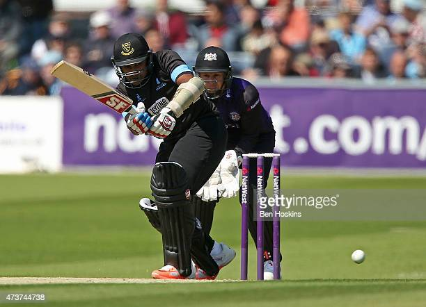 Mahela Jayawardene of Sussex hits out ahead of Geraint Jones of Gloucestershire during the Natwest T20 blast match between Sussex and Gloucestershire...