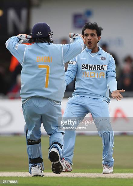 Mahendra Singh Dhoni and Saurav Ganguly of India celebrate the stumping of Matt Prior of England during the Fifth NatWest One Day International...