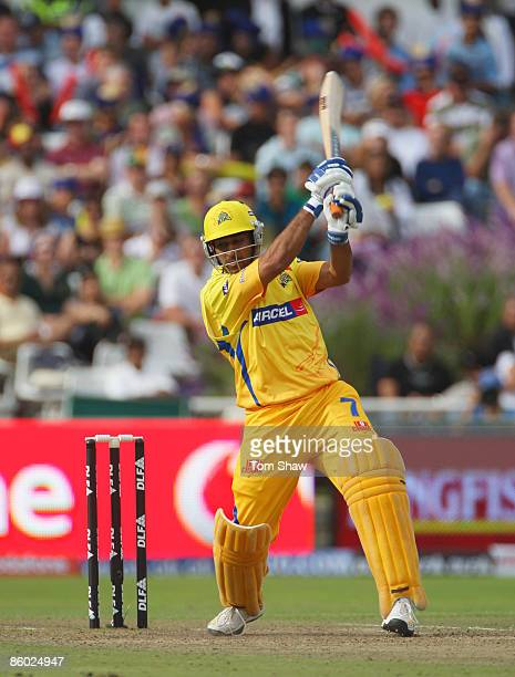Mahendra Singh Dhoni of Chennai hits out during the IPL T20 match between Mumbai Indians and Chennai Super Kings at Newlands Cricket Ground on April...