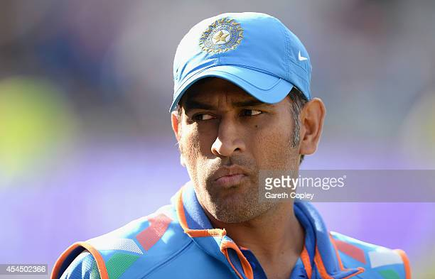 Mahendra Singh Dhoni of India after winning the 4th Royal London One Day International match between England and India at Edgbaston on September 2...
