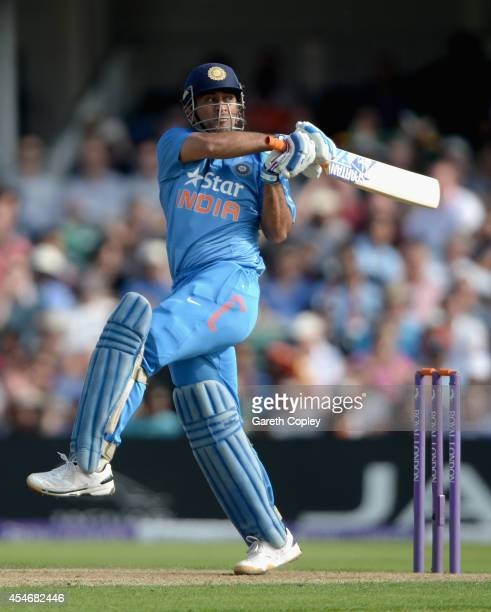 Mahendra Singh Dhoni of India bats during the 5th Royal London One Day International between England and India at Headingley on September 5 2014 in...