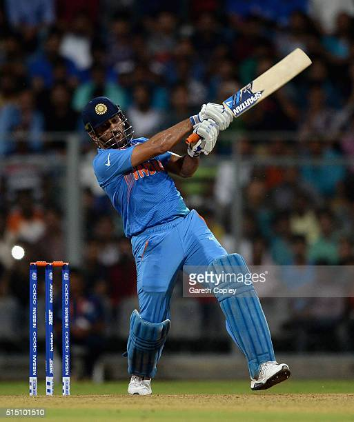 Mahendra Singh Dhoni of India bats during the ICC Twenty20 World Cup warm up match between India and South Africa at Wankhede Stadium on March 12...
