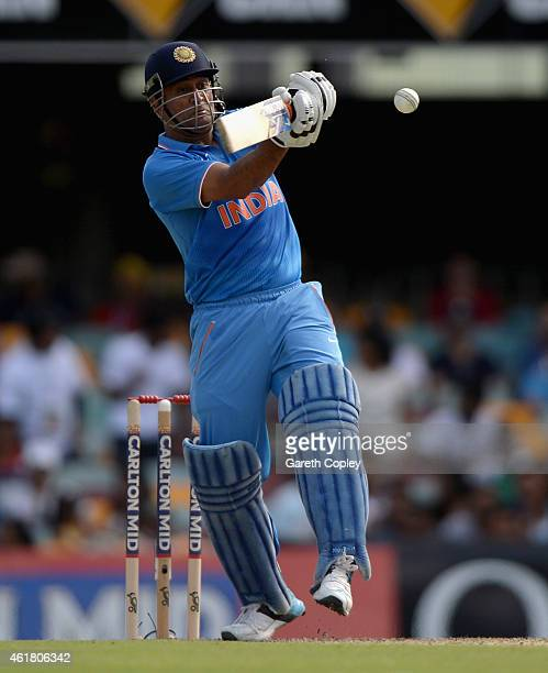 Mahendra Singh Dhoni of India bats during the One Day International match between England and India at The Gabba on January 20 2015 in Brisbane...