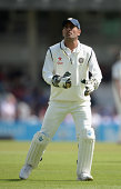 Mahendra Singh Dhoni of India during day two of 5th Investec Test match between England and India at The Kia Oval on August 16 2014 in London England