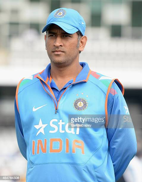 Mahendra Singh Dhoni of India during the 5th Royal London One Day International between England and India at Headingley on September 5 2014 in Leeds...