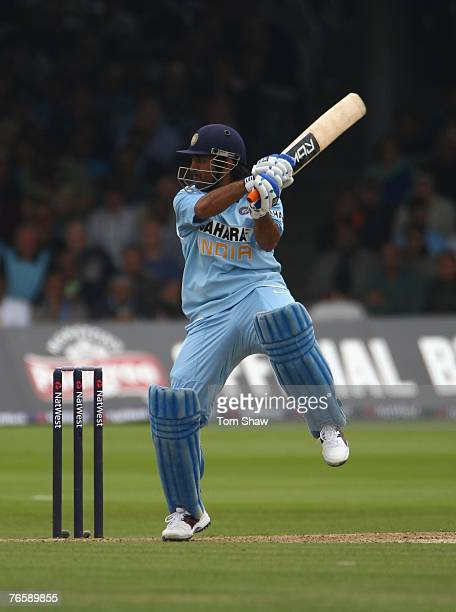 Mahendra Singh Dhoni of India hits out during the 7th Natwest ODI between England and India at Lords Cricket Ground on September 8 2007 in London...