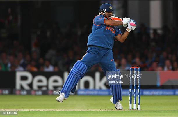 Mahendra Singh Dhoni of India hits out during the ICC World Twenty20 Super Eights match between England and India at Lord's on June 14 2009 in London...