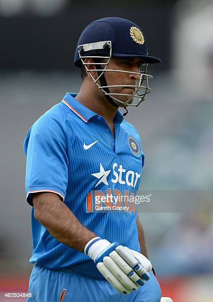 Mahendra Singh Dhoni of India leaves the field after being dismissed by James Anderson of England during the One Day International match between...