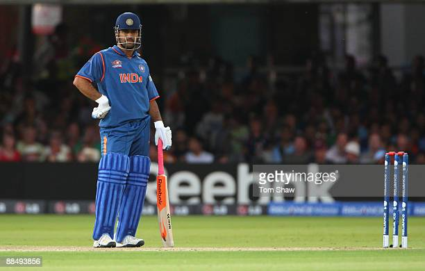 Mahendra Singh Dhoni of India looks on during the ICC World Twenty20 Super Eights match between England and India at Lord's on June 14 2009 in London...
