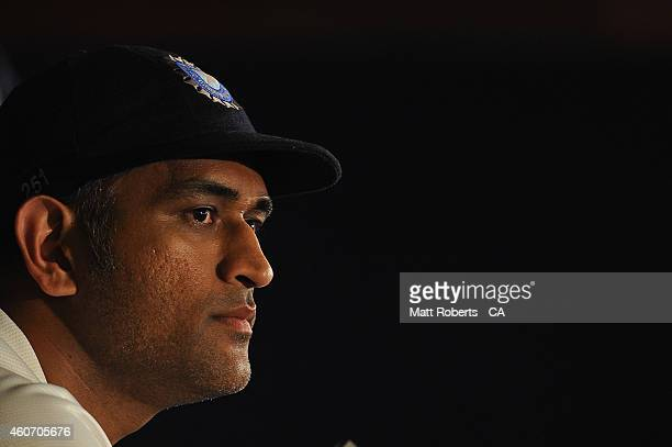 Mahendra Singh Dhoni speaks to media after day four of the 2nd Test match between Australia and India at The Gabba on December 20 2014 in Brisbane...