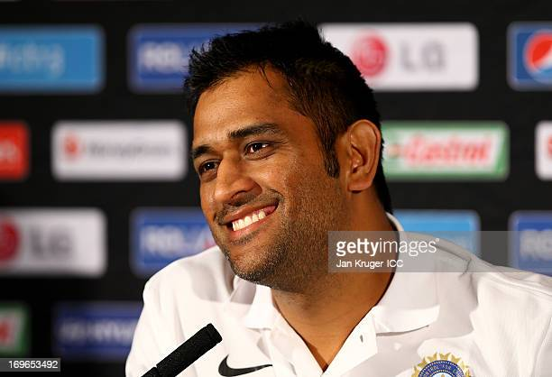 Mahendra Singh Dhoni talks to the media during an ICC Champions Trophy press conference at the Hyatt Hotel on May 30 2013 in Birmingham England