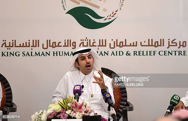 Maher alHadrawi chief executive officer of the King Salman Humanitarian Aid and Relief Centre speaks during a press conference on November 21 2016 in...